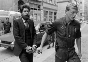 File photo show LARF activist George Ibrahim Abdallah escorted by a French Gendarme as he arrives at Lyon courthouse